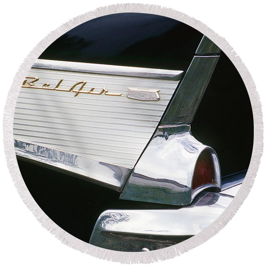 Classic Cars Round Beach Towel featuring the photograph Fifty-seven Chevy by Jim Smith