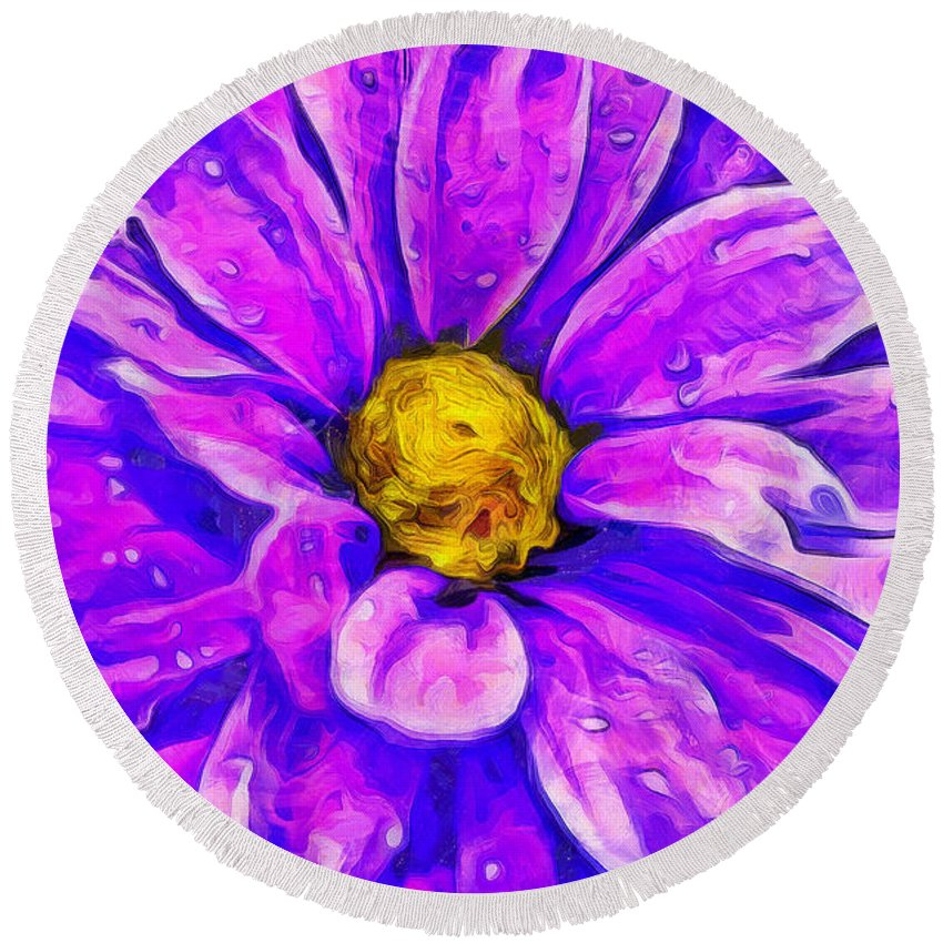Daisy Round Beach Towel featuring the photograph Fifty Shades Of Purple by Krissy Katsimbras