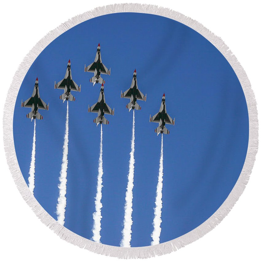 Air Force Round Beach Towel featuring the photograph Fighter Attack by Chandra Nyleen