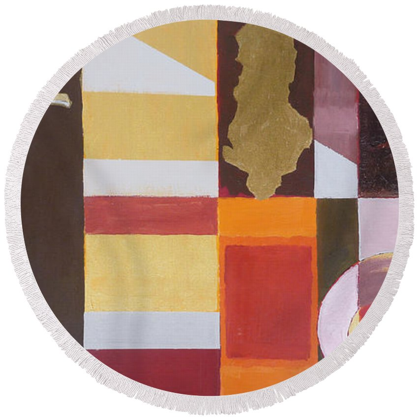 Oil Round Beach Towel featuring the painting Figurativ Albanian Simbols by Alban Dizdari