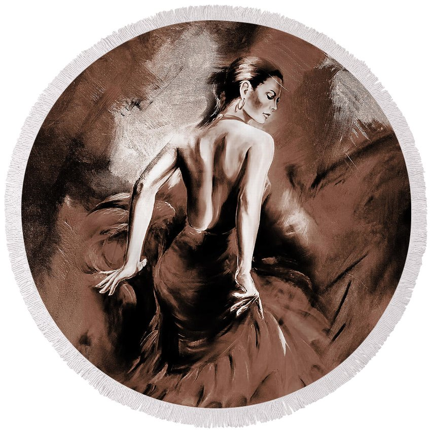 Dance Round Beach Towel featuring the painting Figurative Art 007b by Gull G