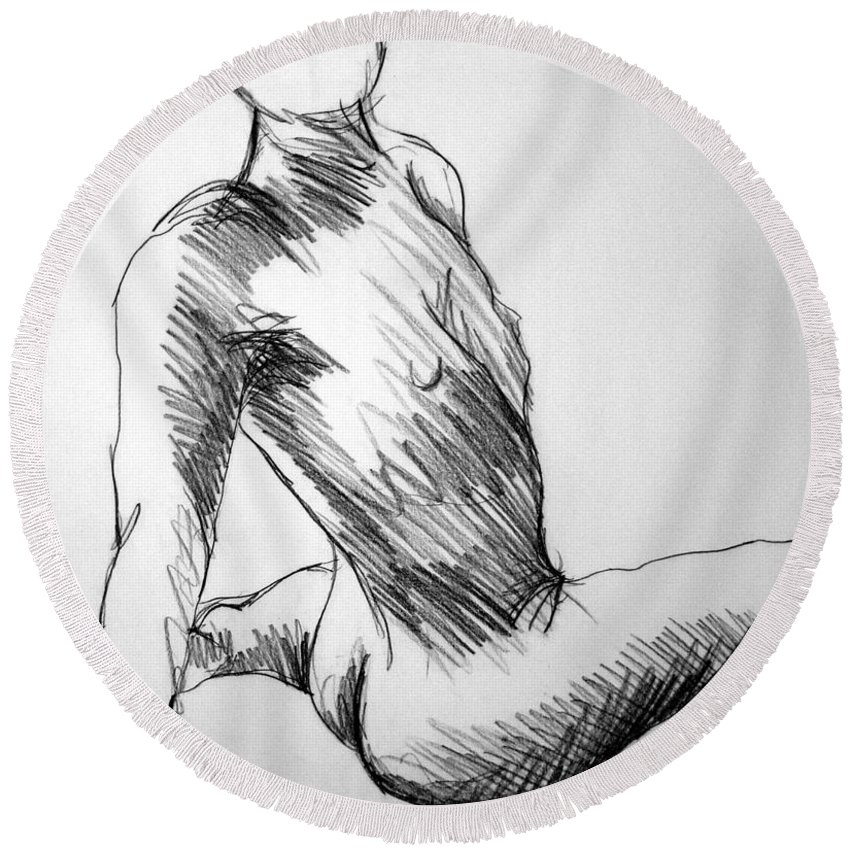Figure Round Beach Towel featuring the drawing Figure Drawing 1 by Nancy Mueller