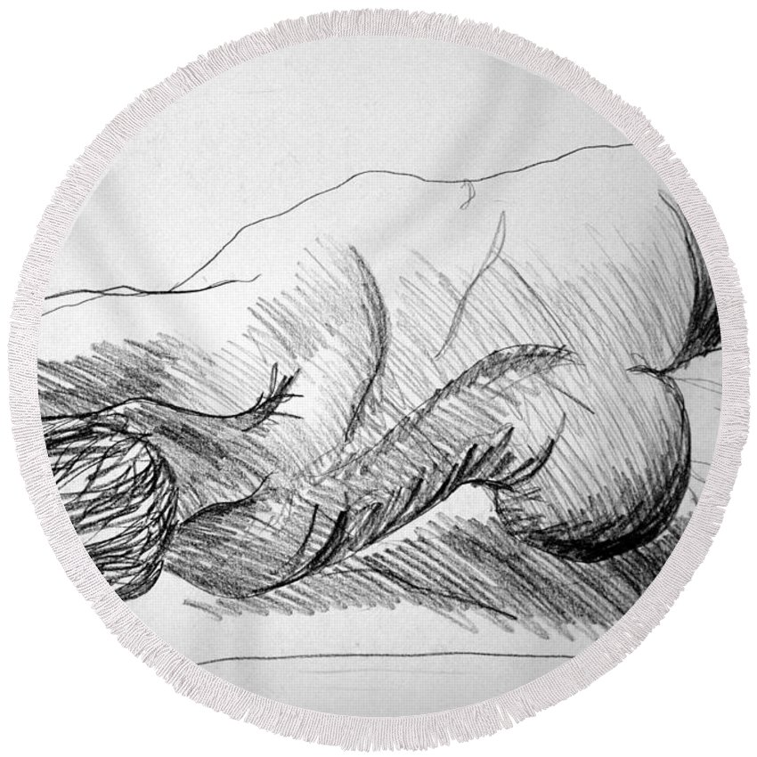 Figure Round Beach Towel featuring the drawing Figure Drawing 2 by Nancy Mueller