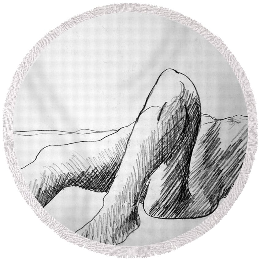 Figure Round Beach Towel featuring the drawing Figure Drawing 4 by Nancy Mueller