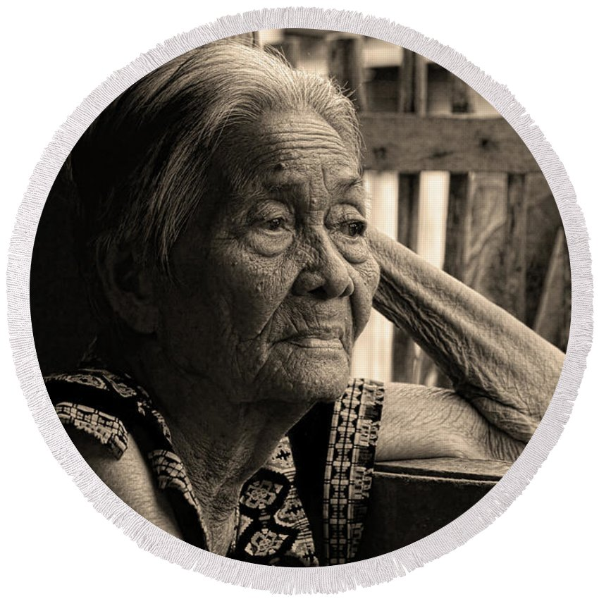 Insogna Round Beach Towel featuring the photograph Filipino Lola Image Number 33 In Black And White Sepia by James BO Insogna