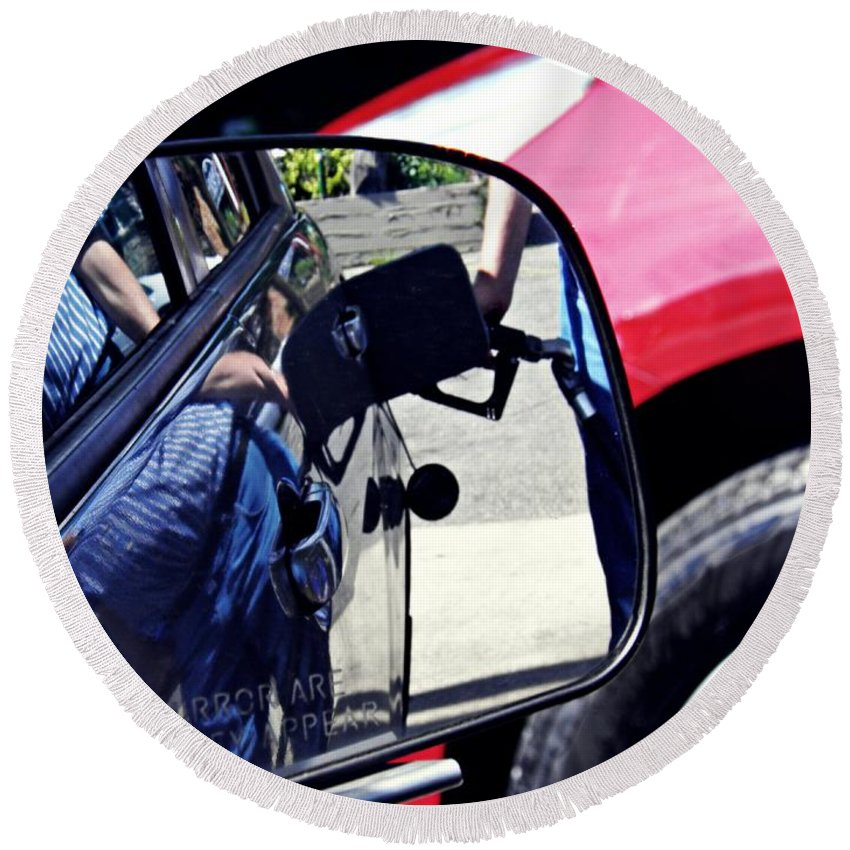 Car Round Beach Towel featuring the photograph Fill'er Up by Sarah Loft