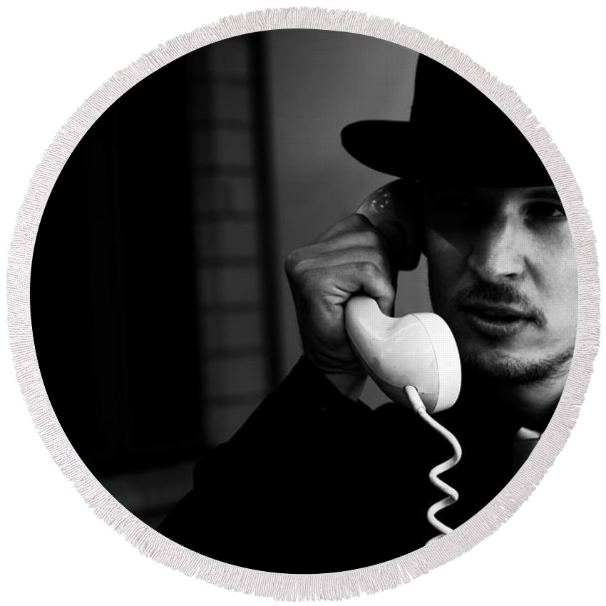 Noir Round Beach Towel featuring the photograph Film Noir Detective On Telephone by Jorgo Photography - Wall Art Gallery