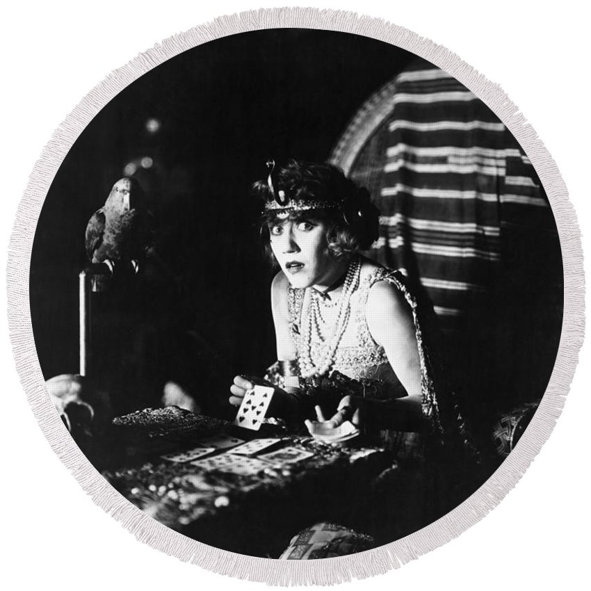 -ecq- Round Beach Towel featuring the photograph Film Still: Fortune Telling by Granger