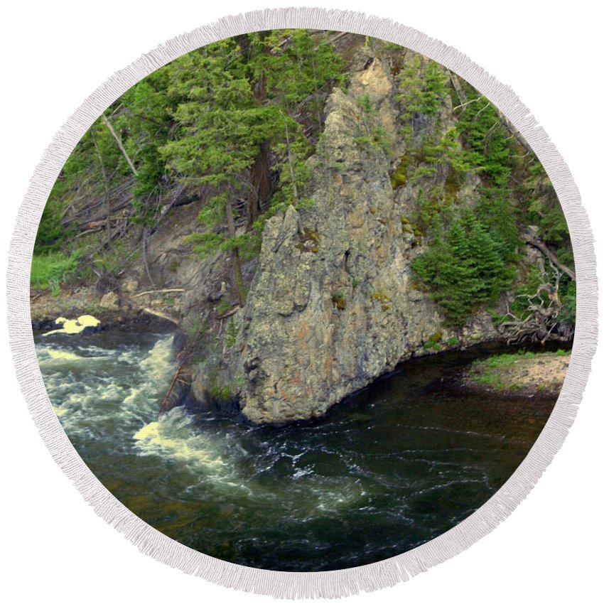 Firehole River Round Beach Towel featuring the photograph Fin On The Firehole by Marty Koch
