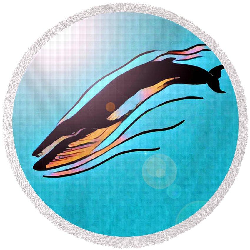 Whale Round Beach Towel featuring the digital art Finback Diving Through Krill by Art MacKay