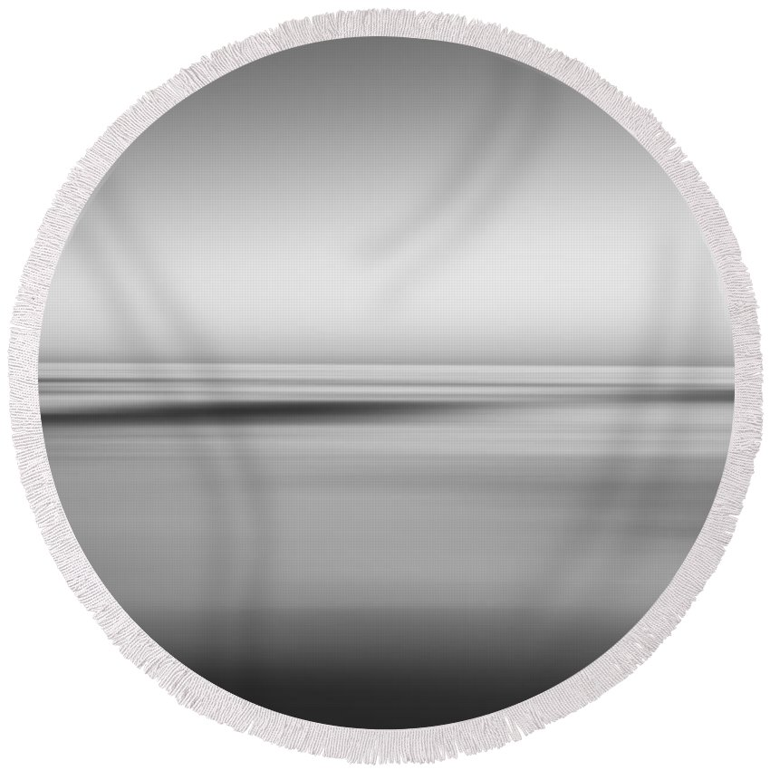 Black And White Round Beach Towel featuring the photograph Finding Bliss Abstract Seascape Bw by Michael Ver Sprill