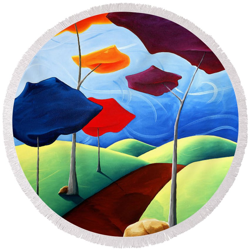 Landscape Round Beach Towel featuring the painting Finding Your Way by Richard Hoedl