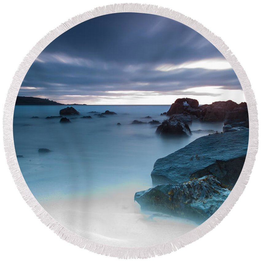 Fine Art By Phill Potter - Blue Round Beach Towel featuring the photograph Fine Art - Blue by Jenny Potter