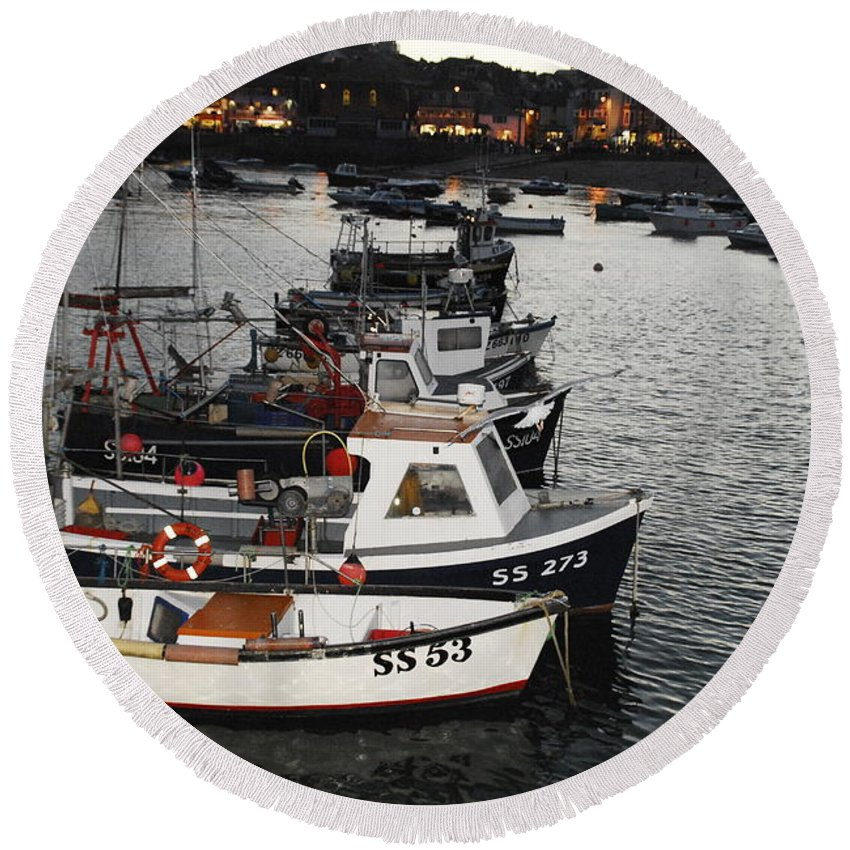 Fine Art Boats St Ives Harbour Round Beach Towel featuring the photograph Fine Art- Boats St Ives Harbour by Jenny Potter
