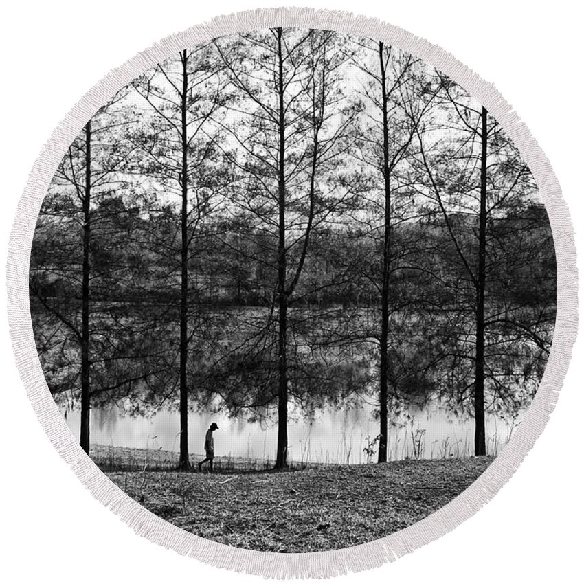 Landscape Round Beach Towel featuring the photograph Fine Trees by George Cabig