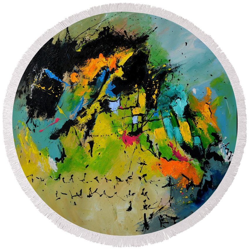Abstract Round Beach Towel featuring the painting Finnegans Wake by Pol Ledent
