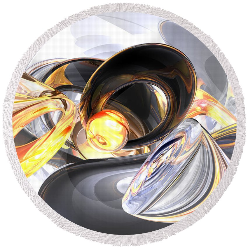 3d Round Beach Towel featuring the digital art Fire And Ice Abstract by Alexander Butler