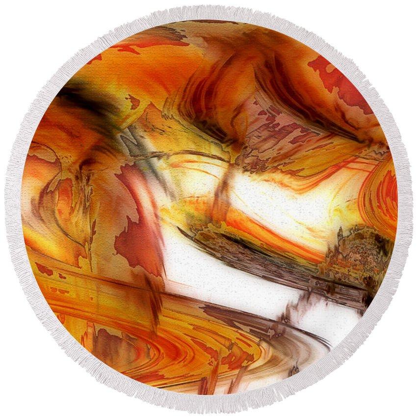 Abstract Art Round Beach Towel featuring the digital art Fire And Rain by Linda Sannuti