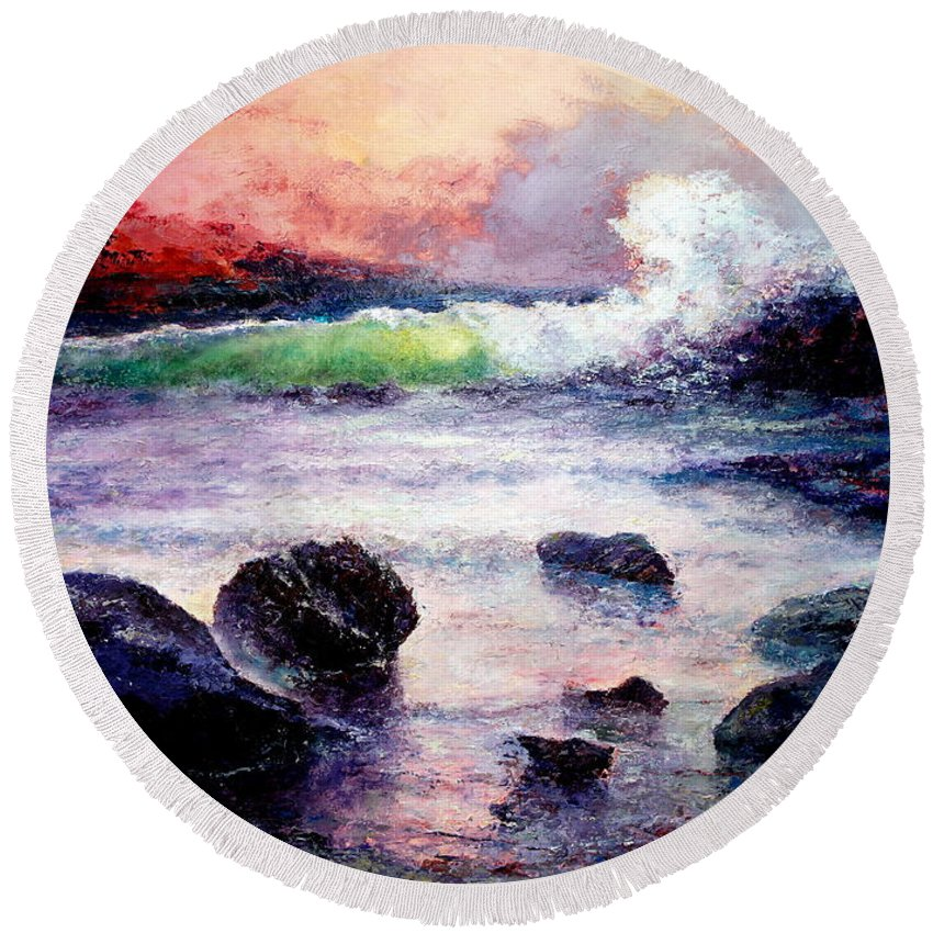 Armenian Artist Round Beach Towel featuring the painting Fire And Water 1.0 by Giro Tavitian