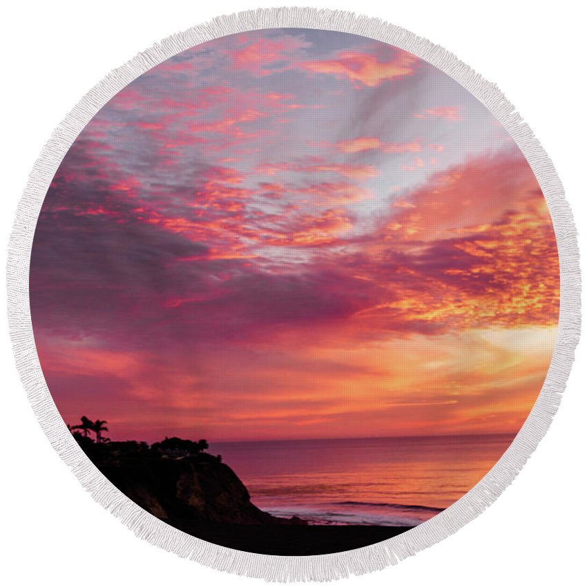 Sunset Round Beach Towel featuring the photograph Fire Breather by Mondo Hand