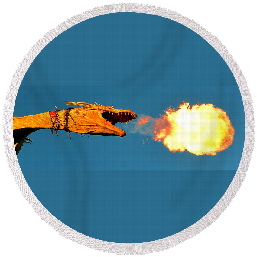Fire Breathing Dragon Round Beach Towel featuring the photograph Fire Breathing Dragon Pano Work by David Lee Thompson