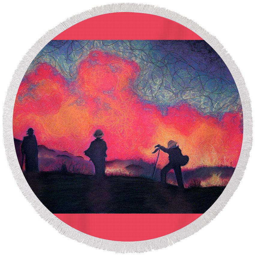 Fire Crews Round Beach Towel featuring the drawing Fire Crew by Joshua Morton