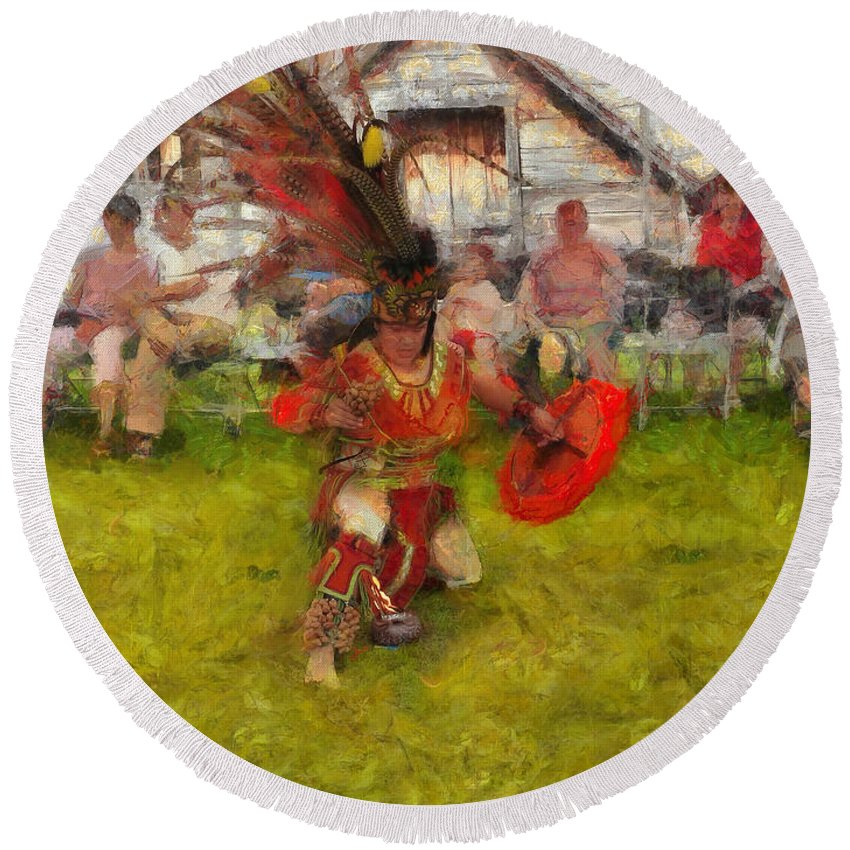 Native American Round Beach Towel featuring the photograph Fire Dance by Claire Bull