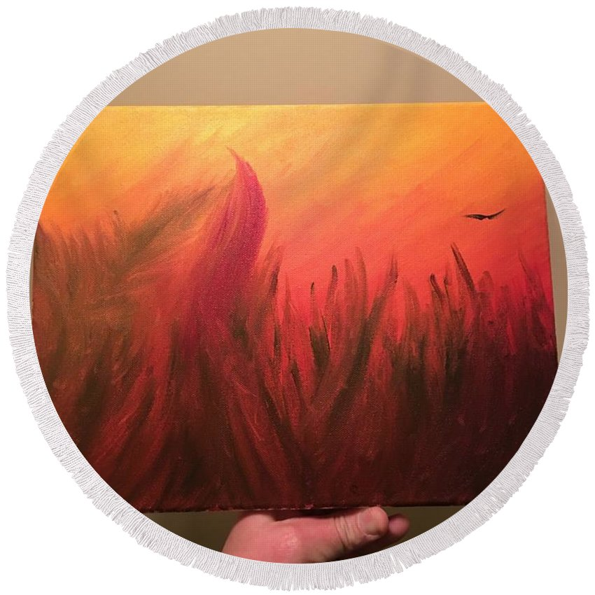 Round Beach Towel featuring the painting Fire by David Molleo