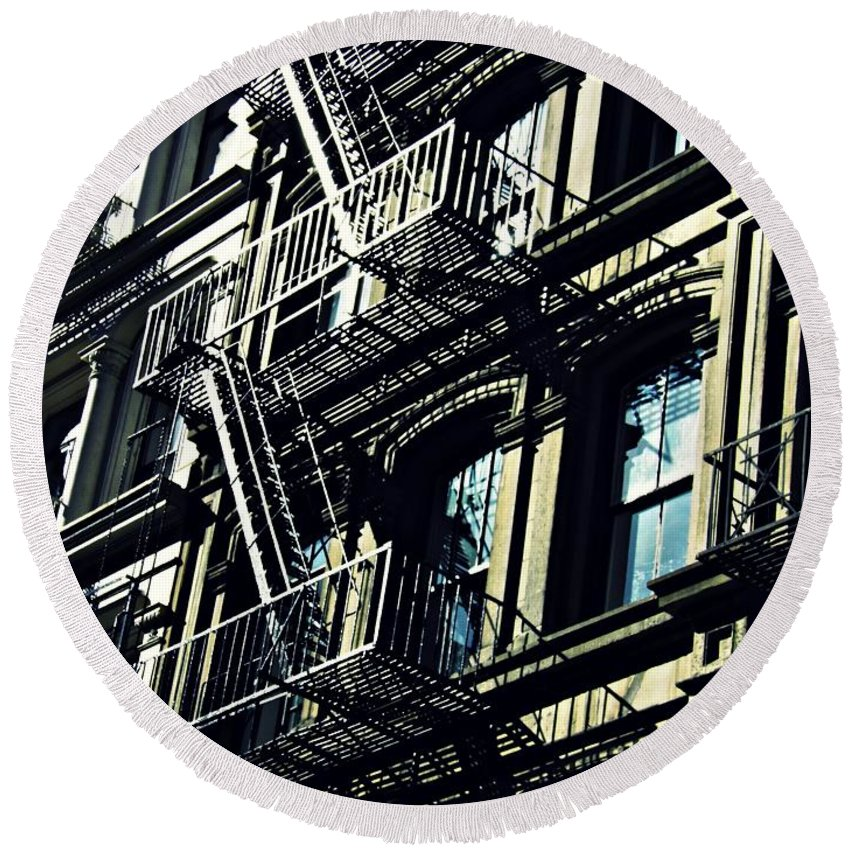 Window Round Beach Towel featuring the photograph Fire Escape On Franklin Street 2 by Sarah Loft