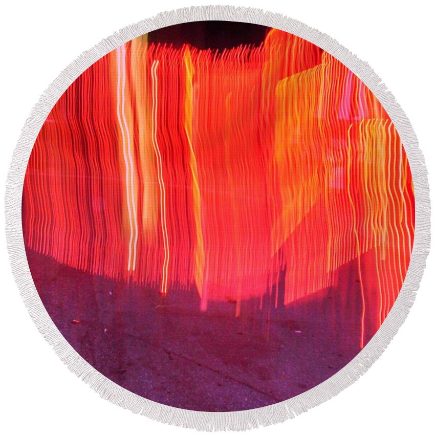 Photograph Round Beach Towel featuring the photograph Fire Fence by Thomas Valentine