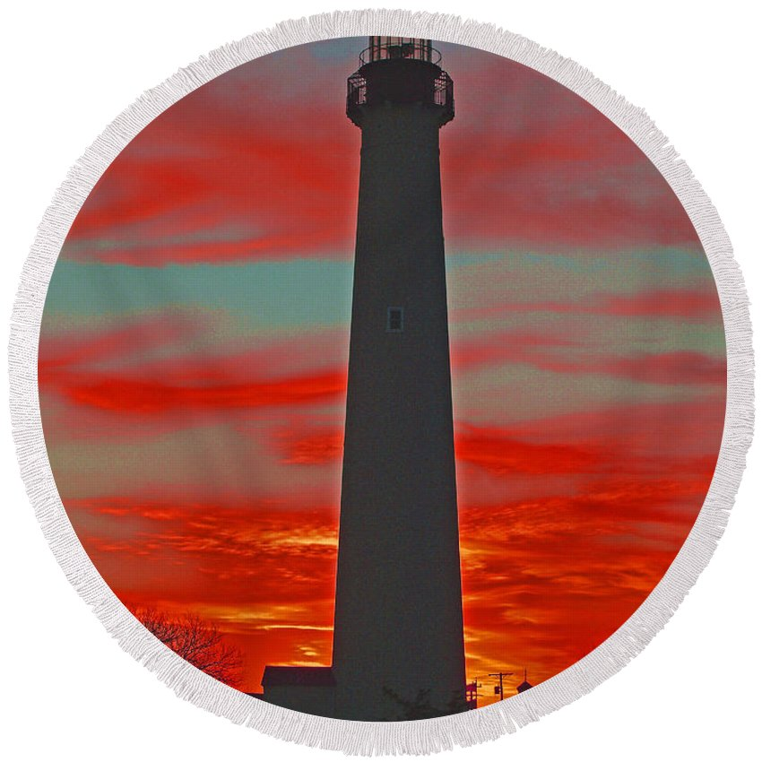 Cape May Round Beach Towel featuring the photograph Fire Frames The Lighthouse by Terrie Stickle