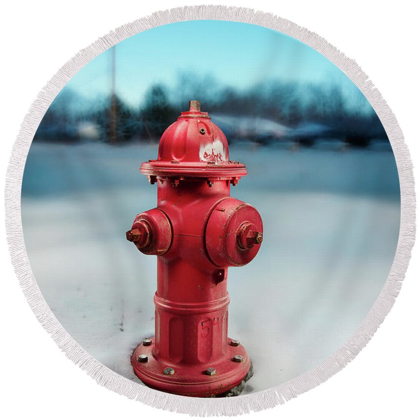 Exterior Round Beach Towel featuring the photograph Fire Hydrant by Yo Pedro