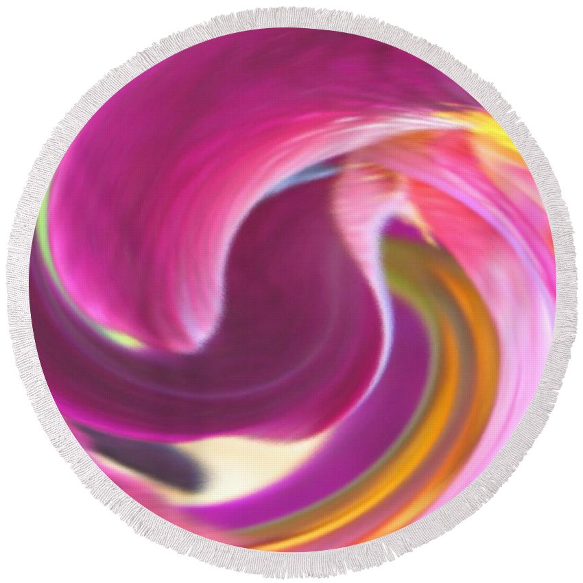 Purple Round Beach Towel featuring the digital art Fire In My Soul by Ian MacDonald
