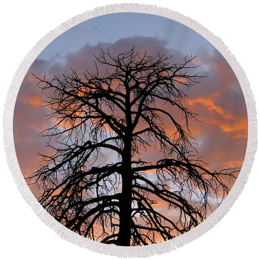Fire Round Beach Towel featuring the photograph Fire In The Sky by David Lee Thompson