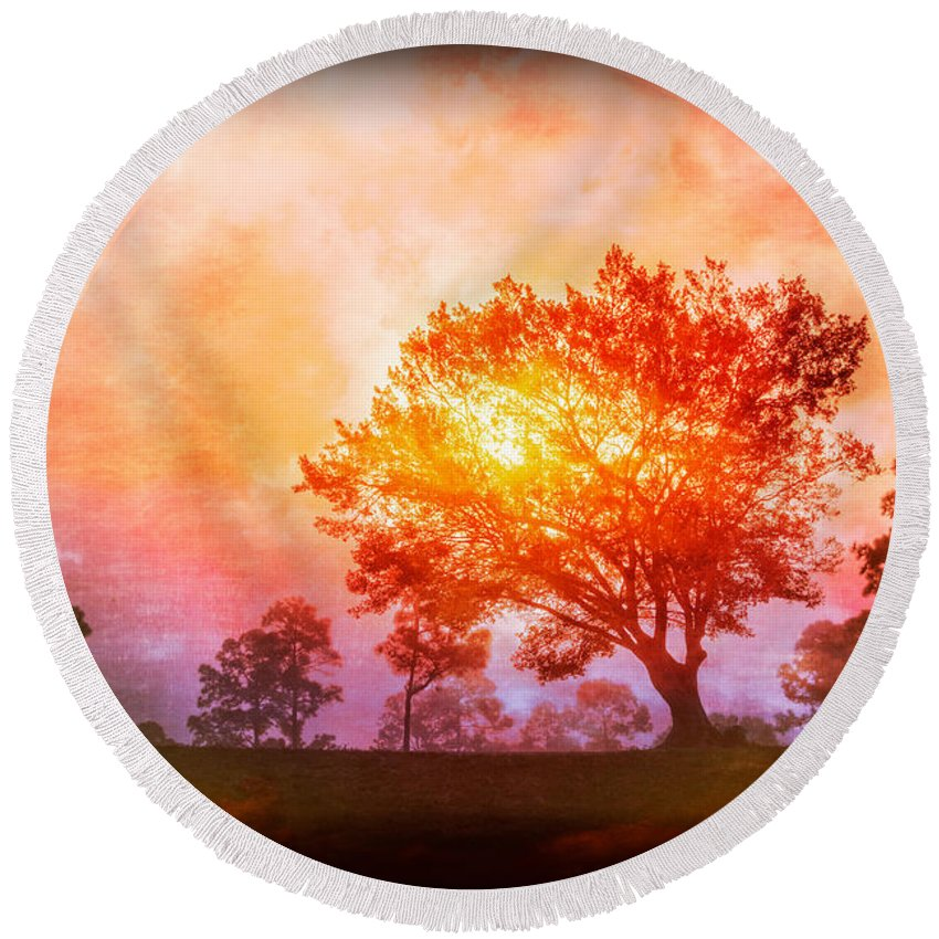 Clouds Round Beach Towel featuring the photograph Fire In The Trees by Debra and Dave Vanderlaan