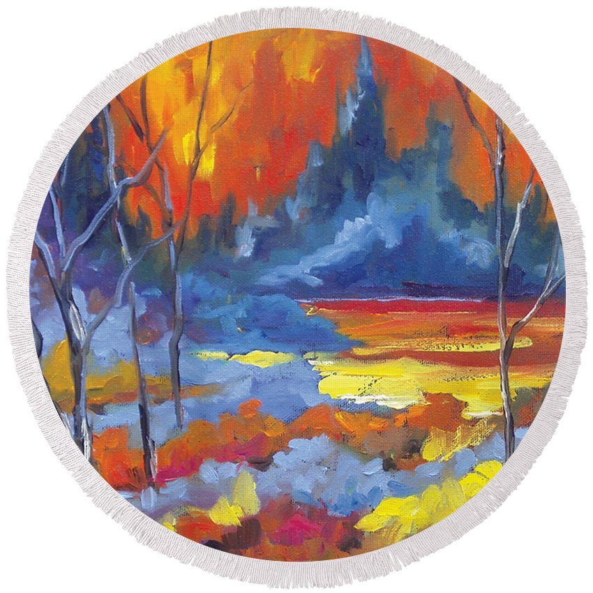 Art Round Beach Towel featuring the painting Fire Lake by Richard T Pranke