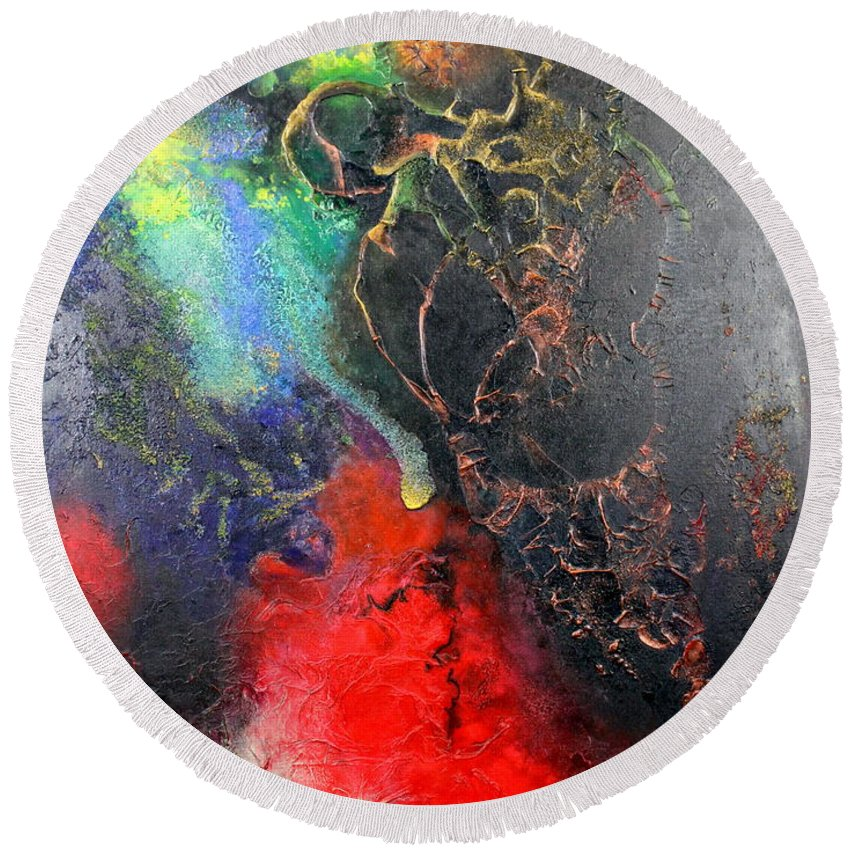 Valentine Round Beach Towel featuring the painting Fire Of Passion by Farzali Babekhan