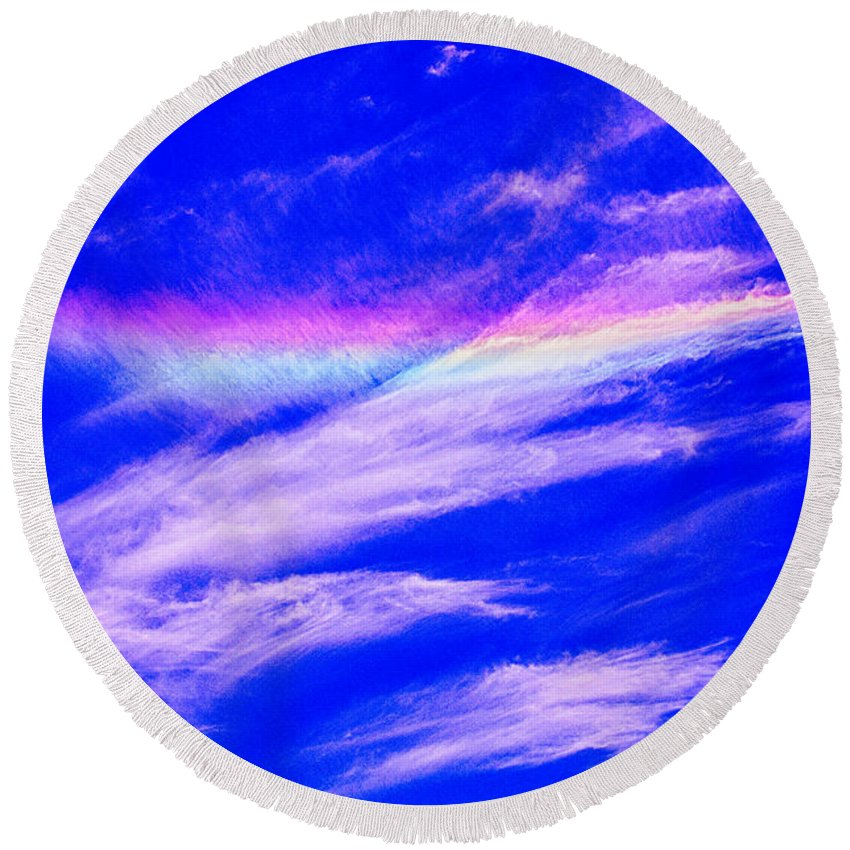 2015 Round Beach Towel featuring the photograph Fire Rainbow by Tommy Anderson