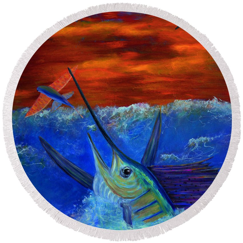 Dolphin Round Beach Towel featuring the painting Fire Sail by Ken Figurski