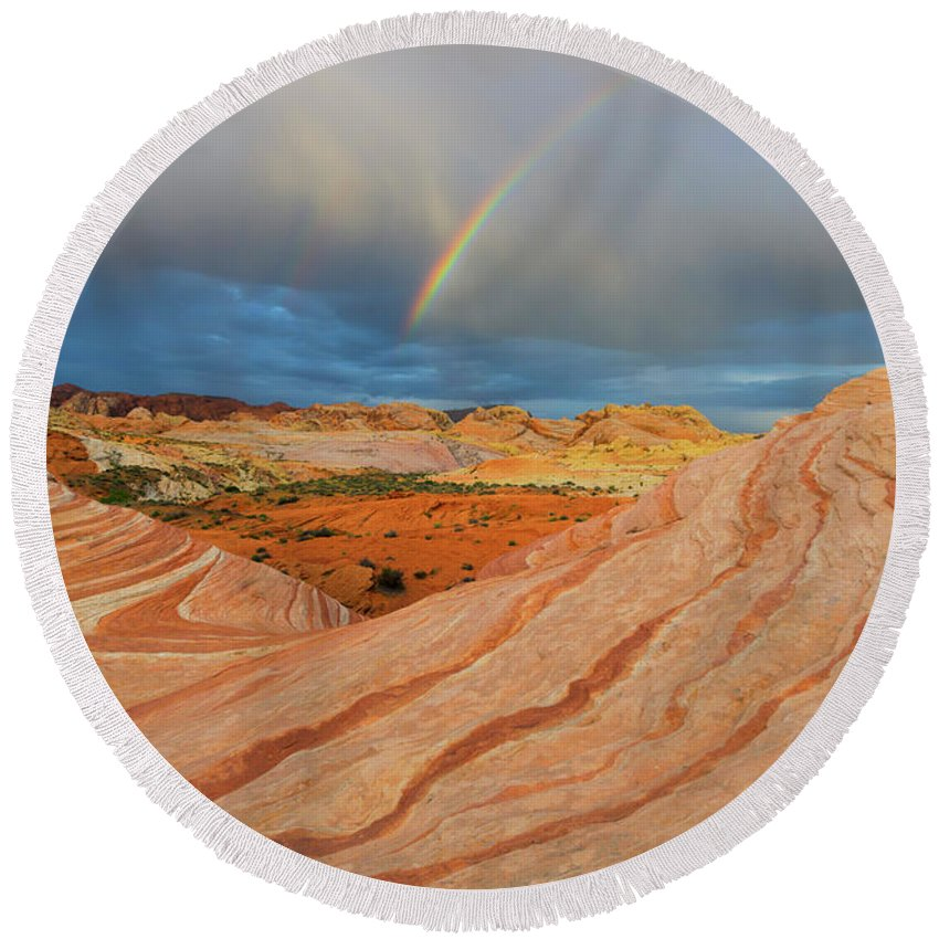 Fire Wave Round Beach Towel featuring the photograph Fire Wave Rainbow Dawn by Mike Dawson