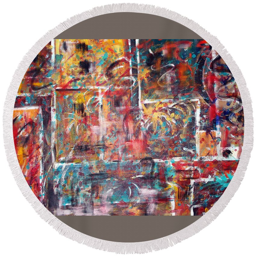 Acrylic Panting Round Beach Towel featuring the painting Fire Works by Yael VanGruber