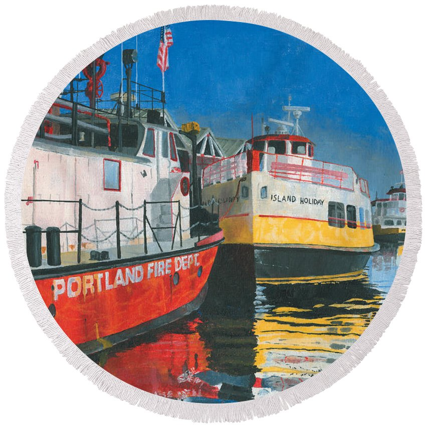 Fireboat Round Beach Towel featuring the painting Fireboat And Ferries by Dominic White