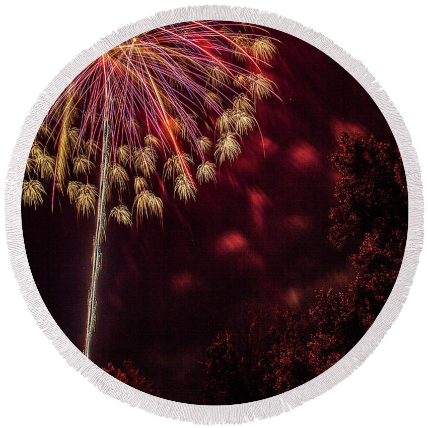 Fireworks Round Beach Towel featuring the photograph Fired Up by Tyson Kinnison