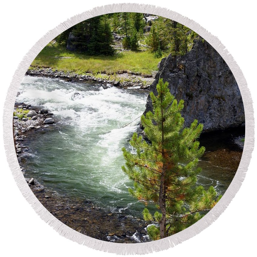 Yellowstone National Park Round Beach Towel featuring the photograph Firehole Fin by Marty Koch