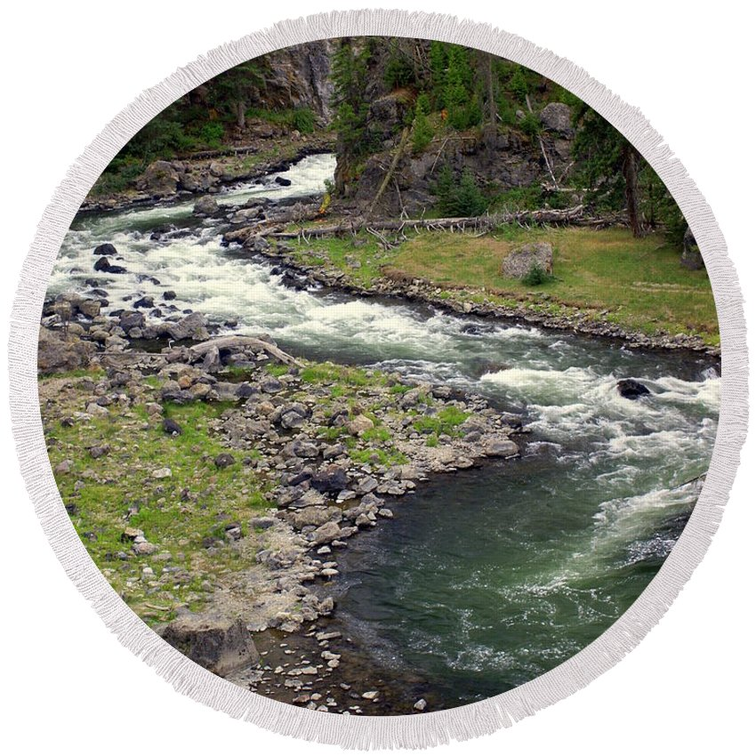 Firehole River Round Beach Towel featuring the photograph Firehole River 2 by Marty Koch