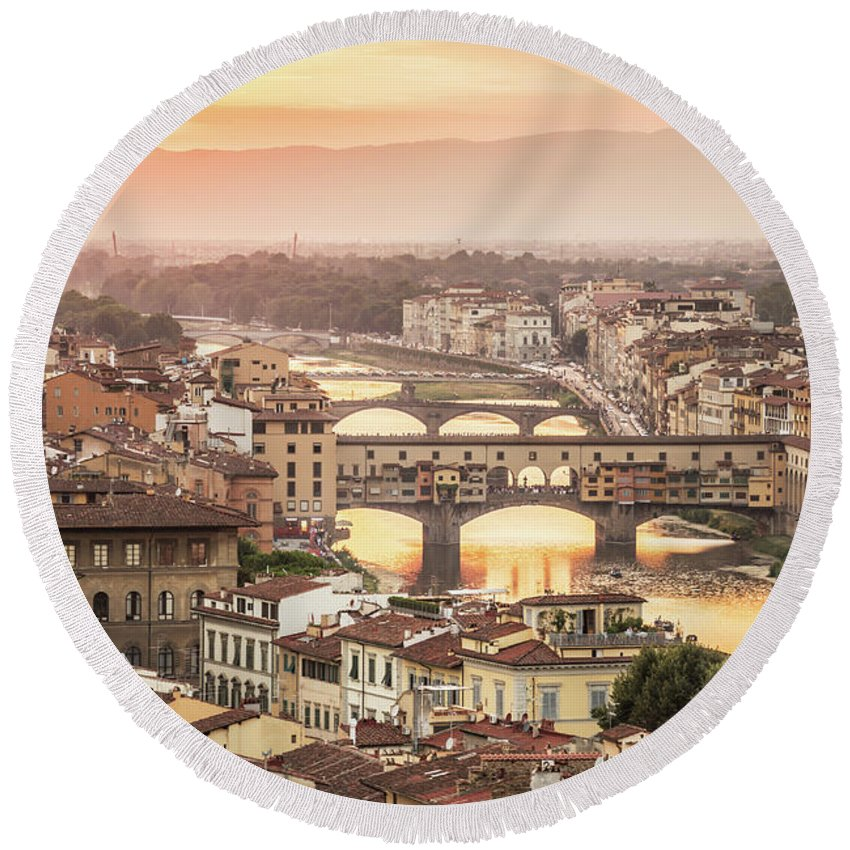 Florence Round Beach Towel featuring the photograph Firenze by Delphimages Photo Creations