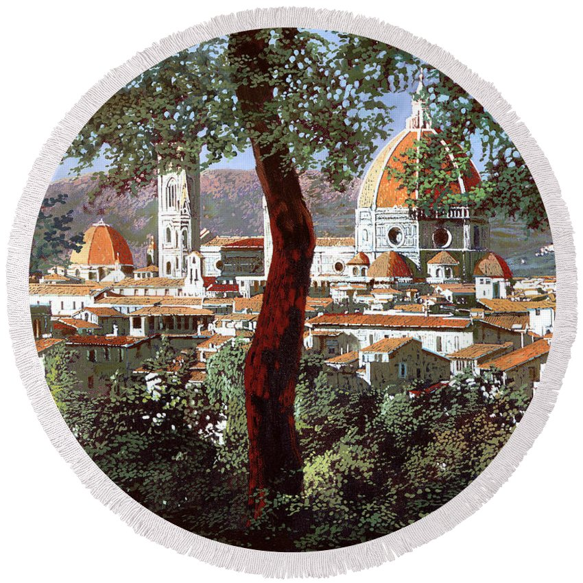 Landscape Round Beach Towel featuring the painting Firenze by Guido Borelli