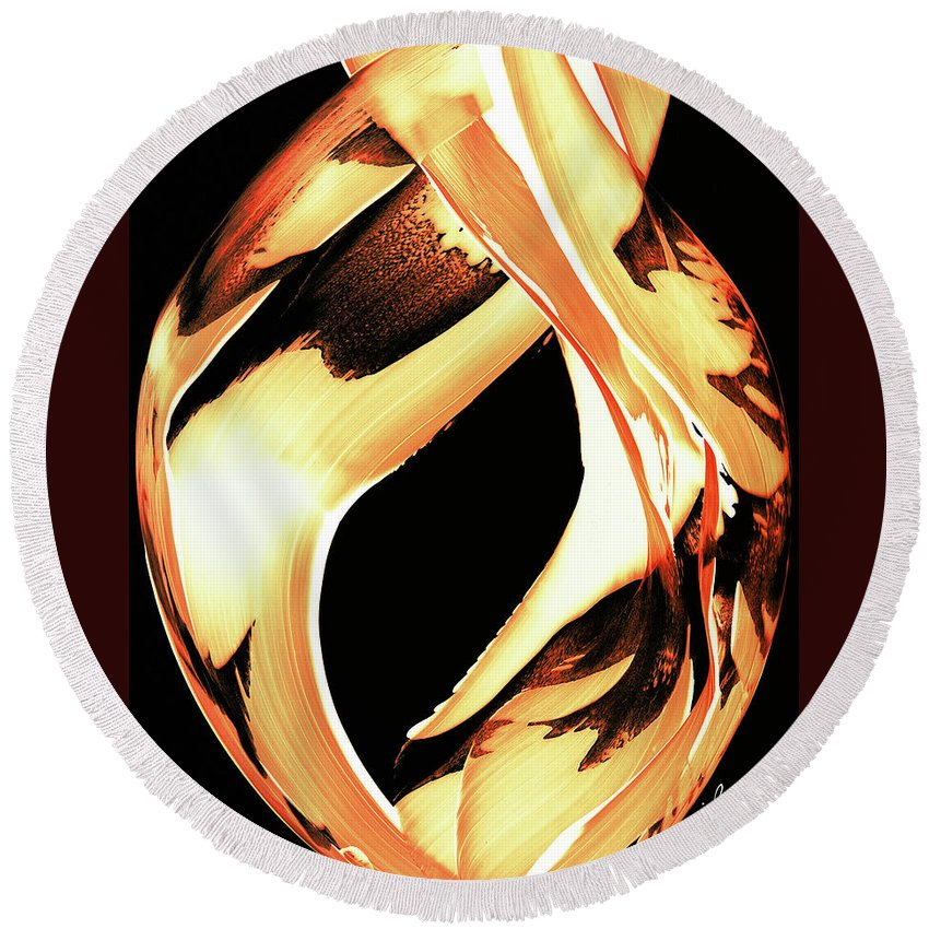 Fire Round Beach Towel featuring the painting Firewater 1 - Buy Orange Fire Art Prints by Sharon Cummings