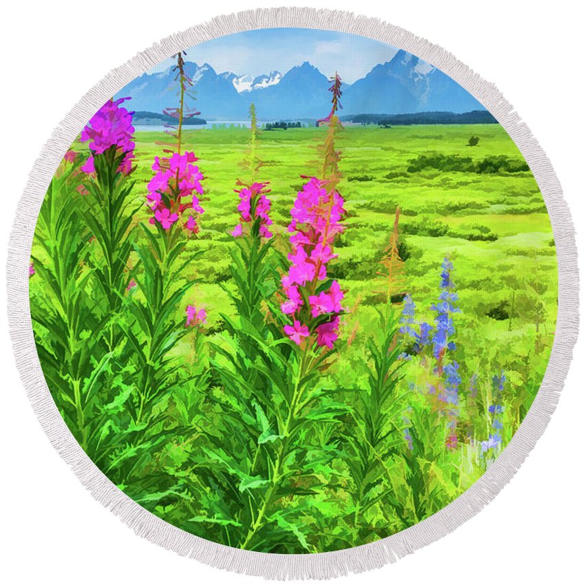 Grand Tetons Round Beach Towel featuring the digital art Fireweed In The Foreground 2 by Lisa Lemmons-Powers