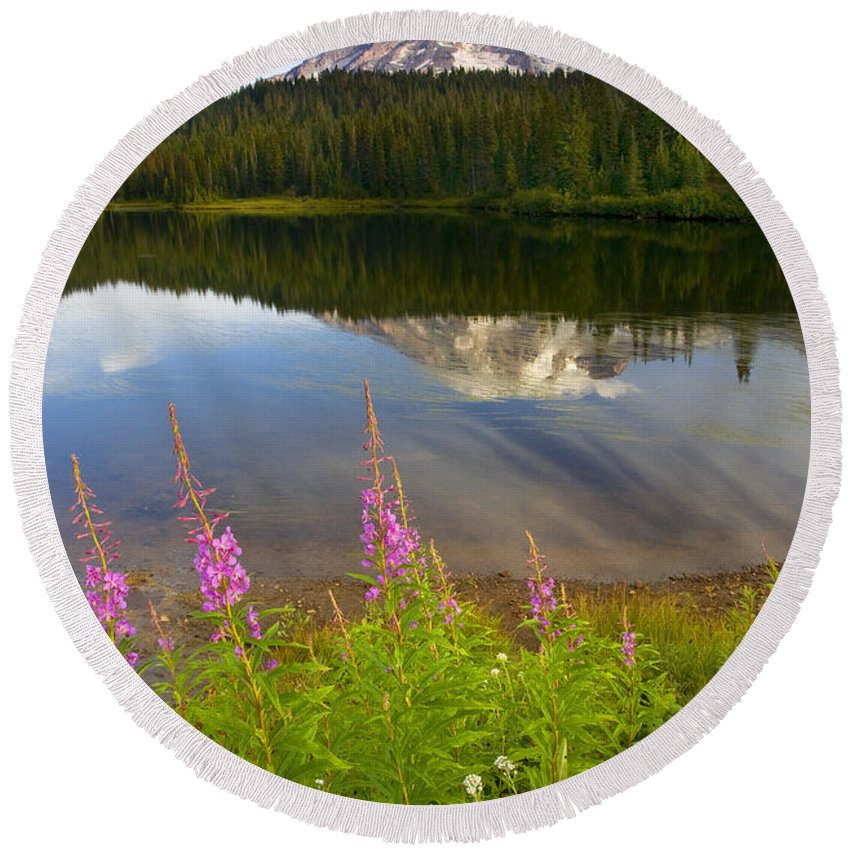 Fireweed Round Beach Towel featuring the photograph Fireweed Reflections by Mike Dawson